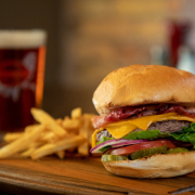Canyon Burger and fries with an Ale